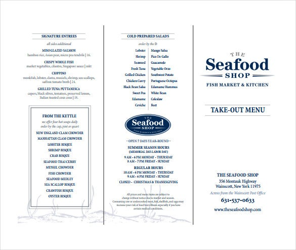 takeout menu free pdf template