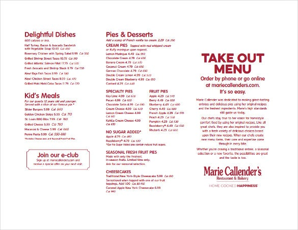Sample Takeout Menu Free Template Download