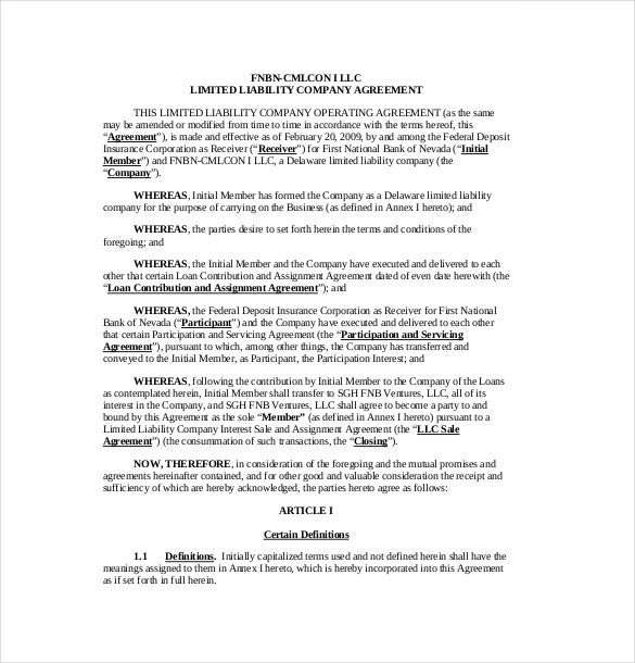 fdicgov this sample agreement template is used by two llc to agree on a working relation it spells out the terms of engagement the scope of association