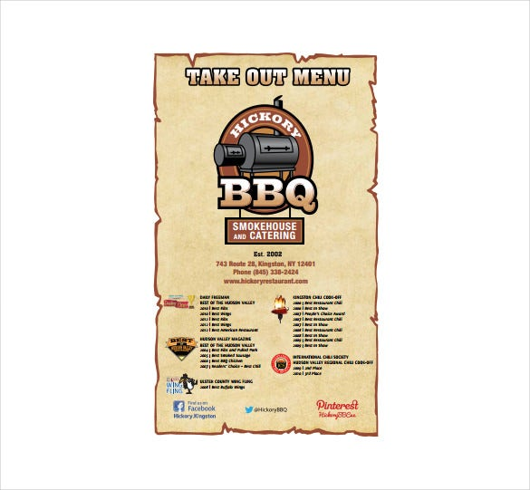 hickory take out menu template download