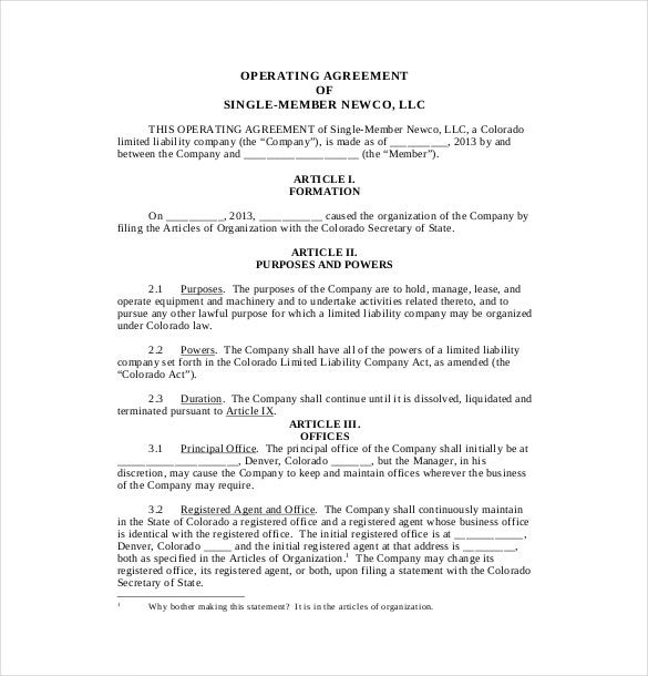 example single member agreement template