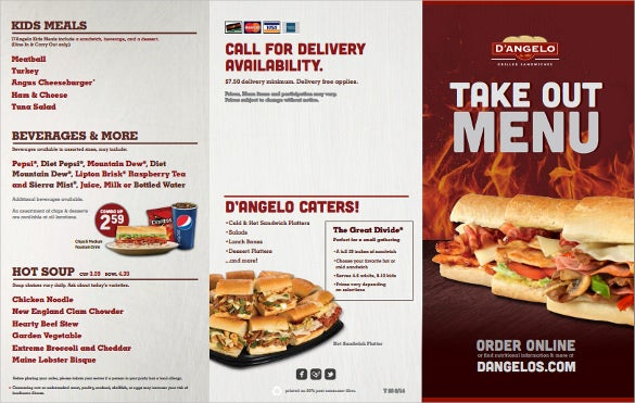 Take Out Menu Templates Free Sample Example Format Download - Delivery menu template