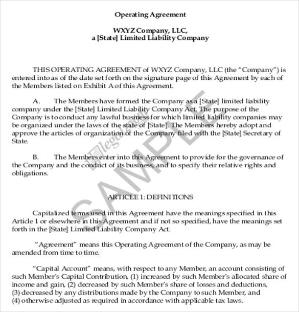Operating Agreement Templates Free Sample Example Format