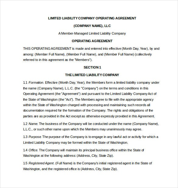 free limited liability company operating agreement template