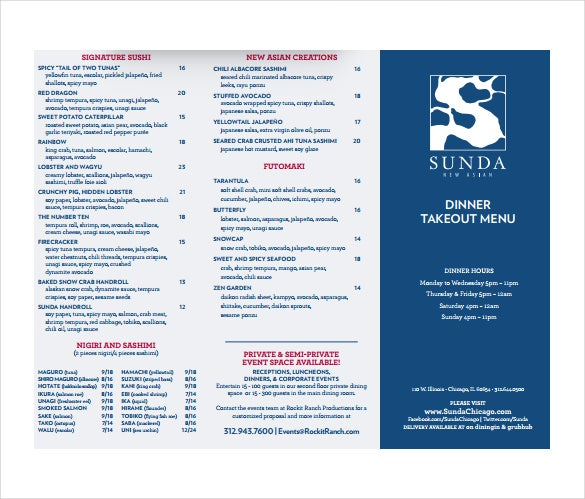 sunda takeout dinner menu template download