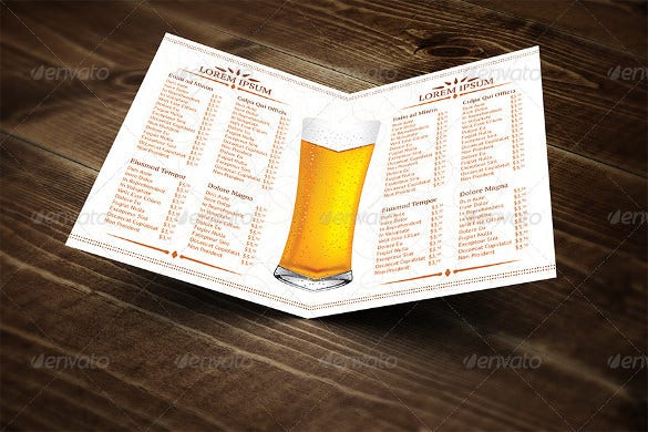 half fold beer menu vector eps template download