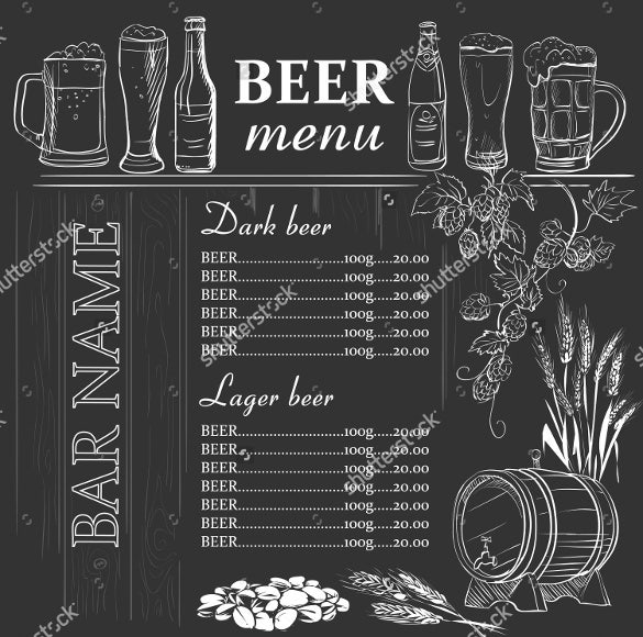 beer menu hand drawn on chalkboard template download
