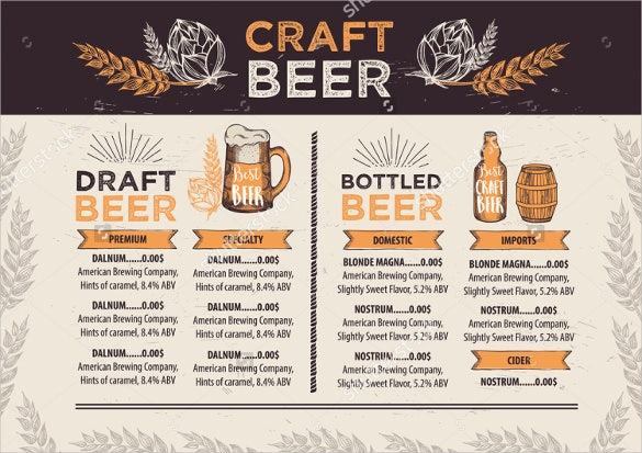 vector beer menu template download