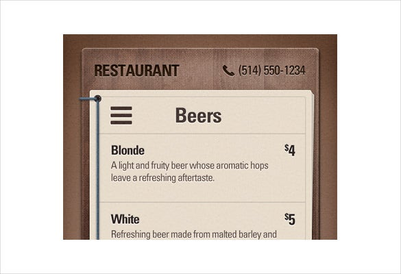 beer menu download