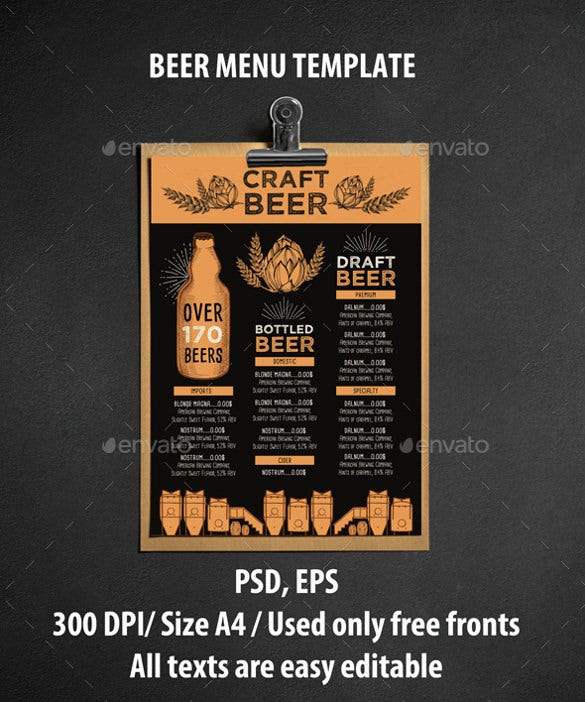 beer menu template download