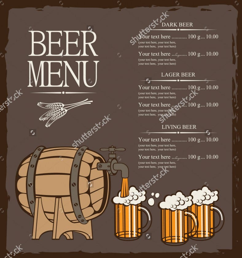 menu for beer keg and glasses template download 788x840