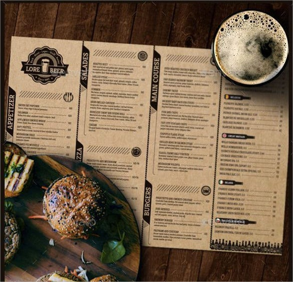 lore beer pub menu template download