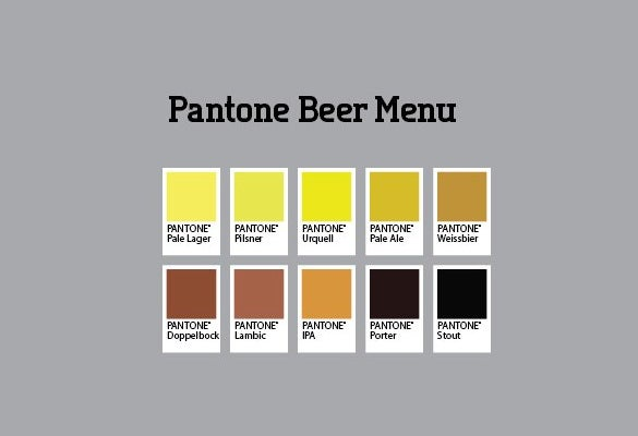 pantone beer menu template download