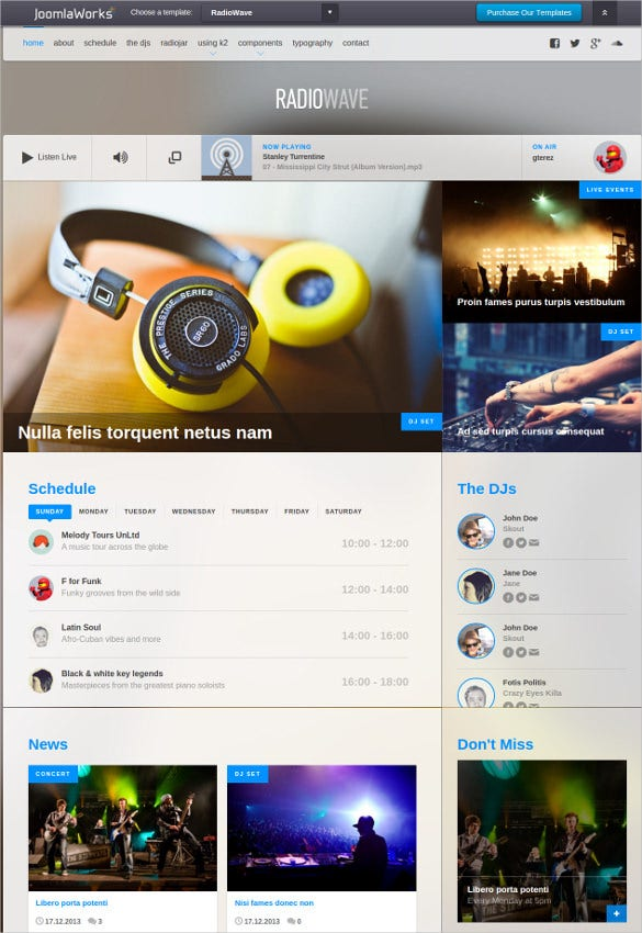 Online Radio Wave Joomla Template