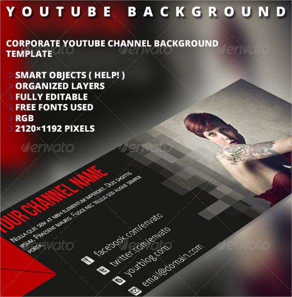 corporte sample youtube banner background template