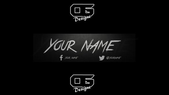 black sample youtube banner background template