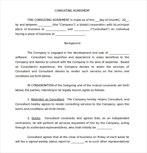 Consulting Agreement Form Sample Short Form Consulting Agreement
