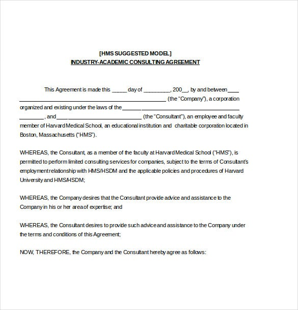 12 consulting agreement templates free sample example for Generic terms and conditions template