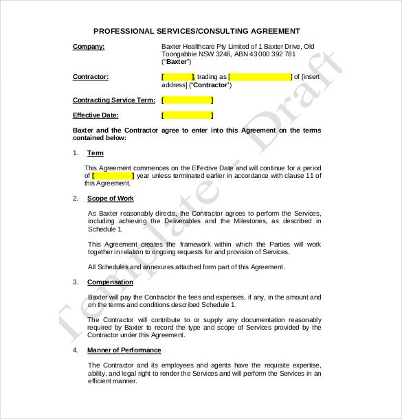 Consulting Agreement In Pdf Consulting Service Agreement Contract