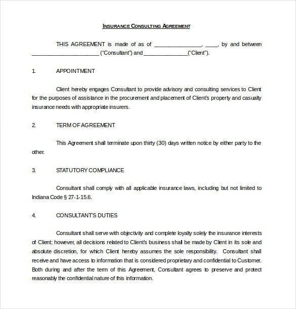 Consulting Agreement Templates Free Sample Example Format