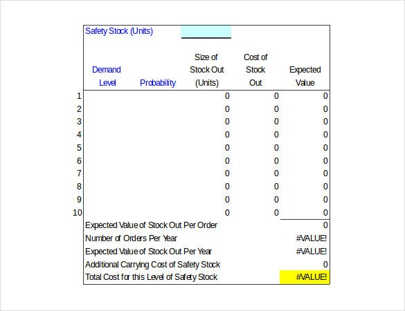 stock safety inventory control calculator example format download