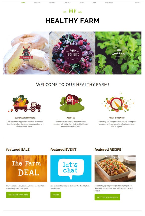healthy food agriculture website template