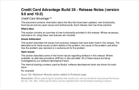 credit card release notes template pdf format