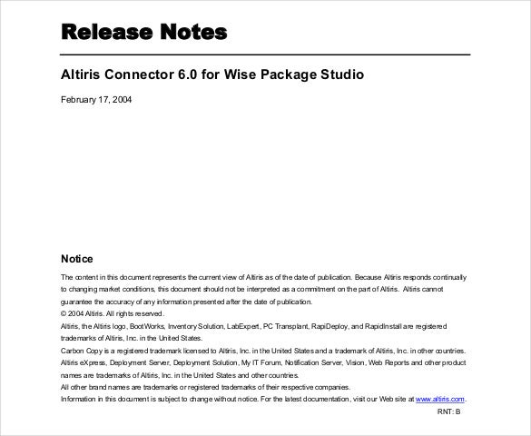 altiris connector release note template free pdf