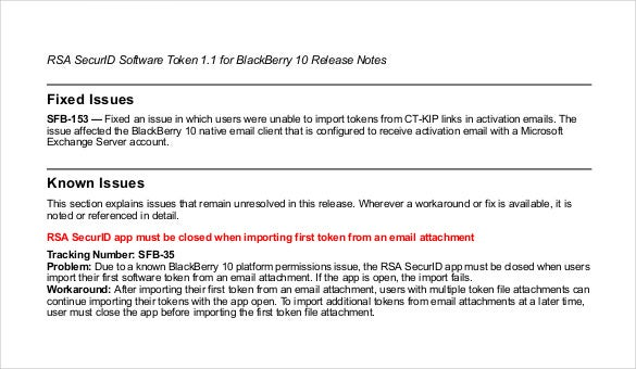 blackberry release notes free pdf template