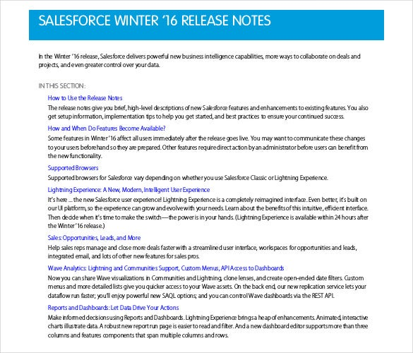 salesforce winter release notes free pdf template
