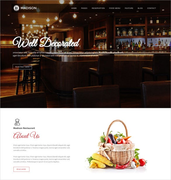 madison joomla restaurant theme