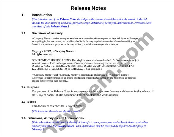 software release notes document template - Romeo.landinez.co