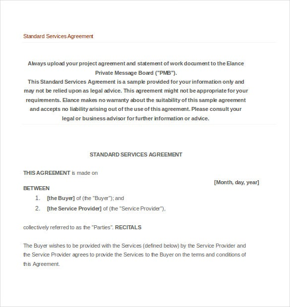 Service Agreement Templates Free Sample Example Format