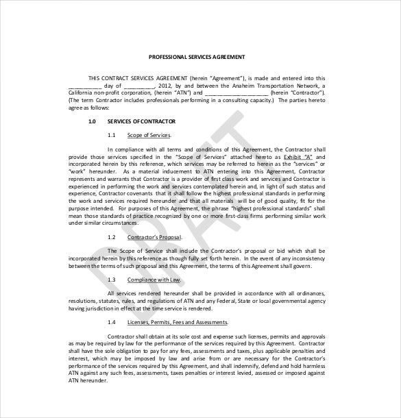 Example Professional Services Agreement Template Download