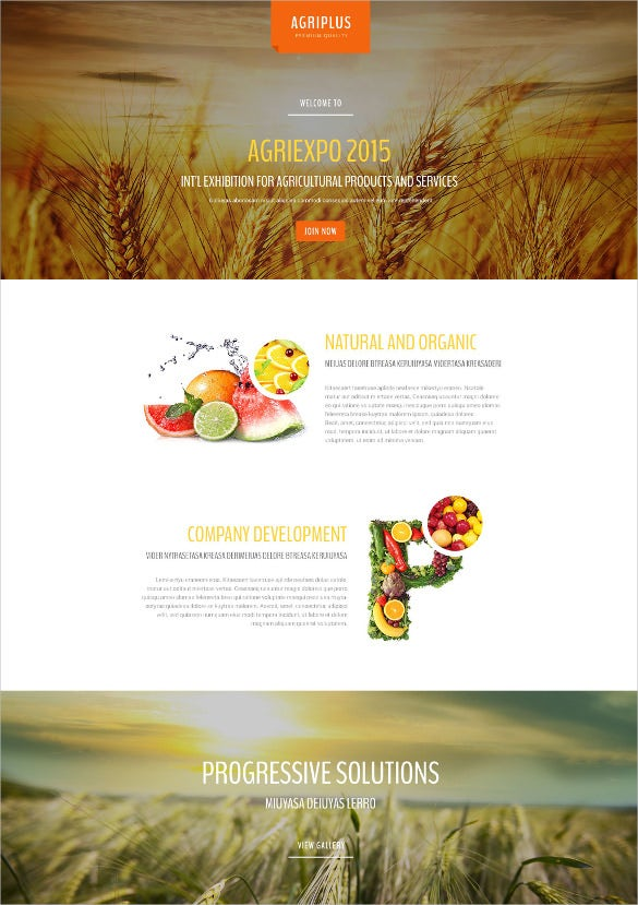 agriculture responsive landing page website template