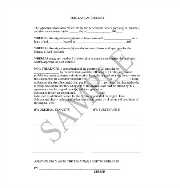 Sublease Agreement Templates Free Sample Example Format