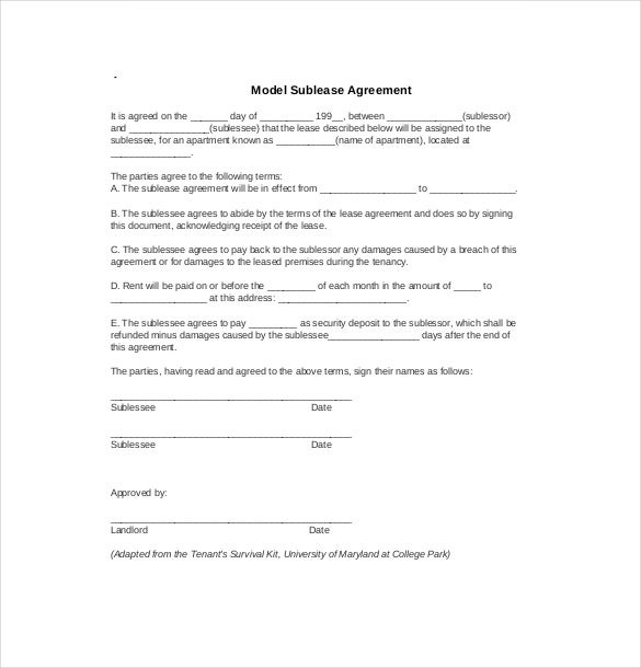 Sublease Agreement Templates Free Sample Example Format - Free sublease agreement template