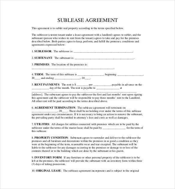 Sublease Agreement Templates Free Sample Example Format - Sublease agreement template word