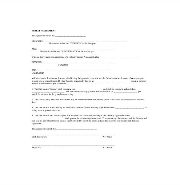 10 sublease agreement templates free sample example for Subletting lease agreement template