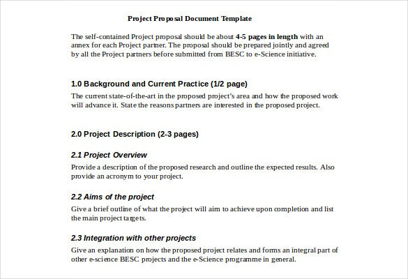 proposal document template fee download