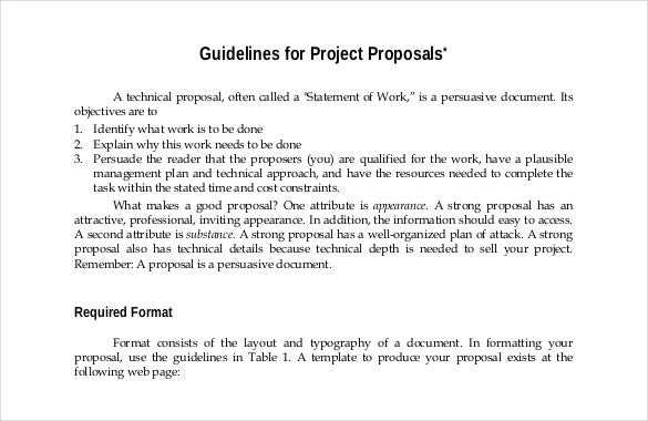 High Quality Guidelines For Project Proposal Free PDF Format Template