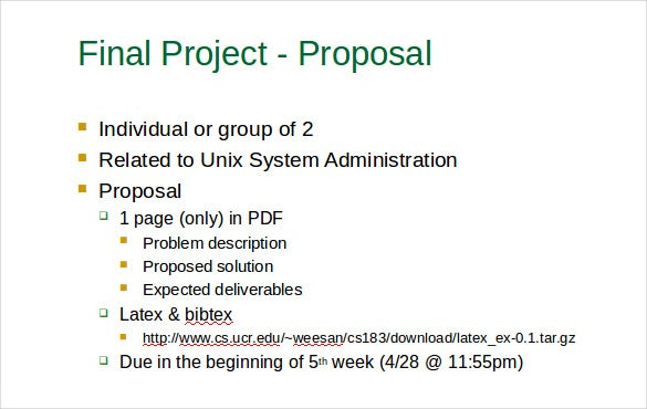 Final Project Proposal Free PPT Format Template
