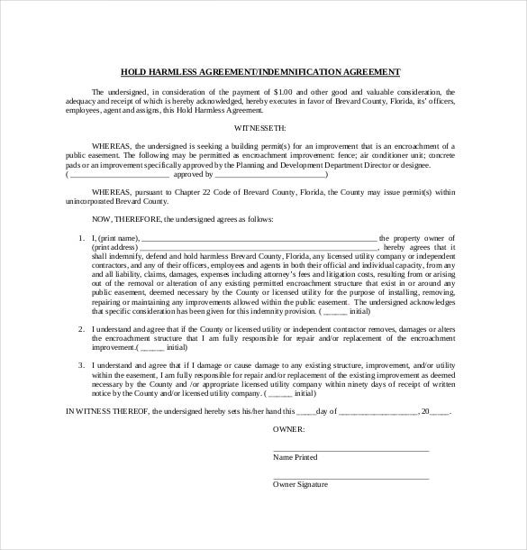 10 Hold Harmless Agreement Templates Free Sample Example – Agreement Template Free