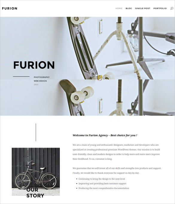 furion creative blog portfolio wordpress theme