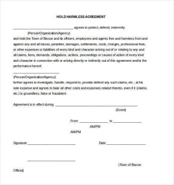 10 Hold Harmless Agreement Templates Free Sample Example – Event Agreement Template