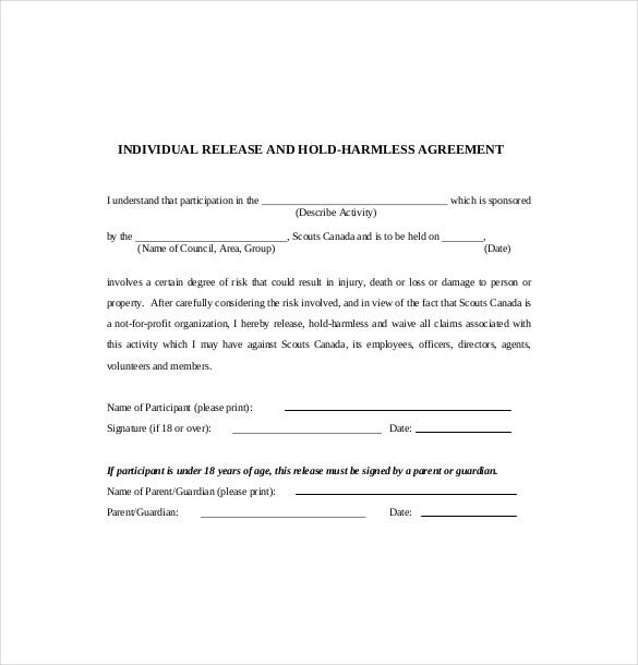 Hold Harmless Agreement Templates Free Sample Example Format