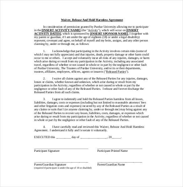 10+ Hold Harmless Agreement Templates– Free Sample, Example