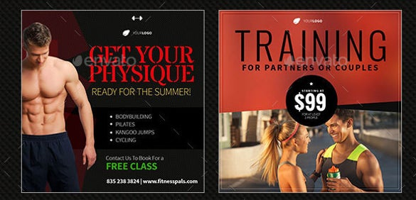 fitness youtube banner ad sample template
