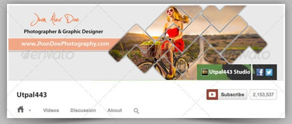 photographer sample youtube banner ad template