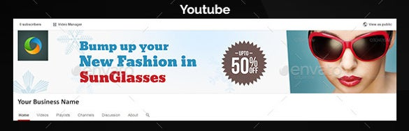 sunglasses sample youtube banner ad template